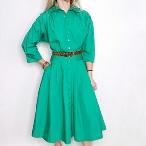 80s Vintage Green Button Down Pleated Shirt Dress